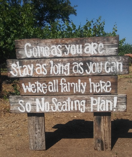 Wooden sign No Seating Plan rentals from Brave Horse Winery