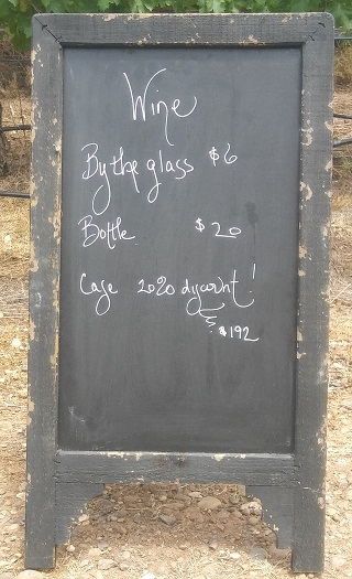 Wooden sign Rustic Black Chalkboard rentals from Brave Horse Winery