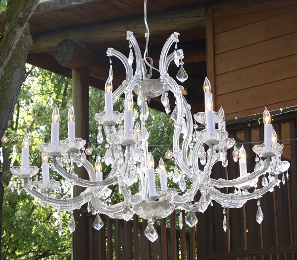 vintage crystal chandelier rental from Brave Horse Winery